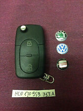 VW SEAT SKODA 2 Buttons Remote Key HLO 1JO 959 753 A 1J0959753A CAN CUT AND CODE