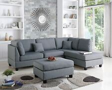 Sofa Reversible L/R Chaise &Ottoman 3p Sectional Living Room Cushion Pillow Gray