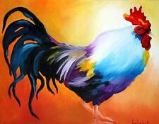 ROOSTER - ACEO Print of Original Painting by Tetiana