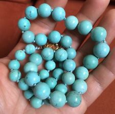 Antique Chinese High Grade Turquoise Bead Double Knotted Necklace w Silver Clasp