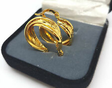 WOMENS PAIR 9CT YELLOW GOLD  FINISHED CREOLE HOOP EARRINGS JEWELRY