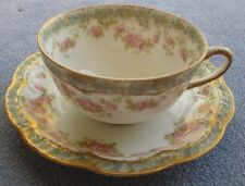 Haviland Limoges Schleiger 271H Cup & Saucer Pink Roses Double Gold Trim Beauty!