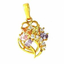 Vintage multicolor Swarovski Crystal 14K Gold Plated Flower Womens Pendant