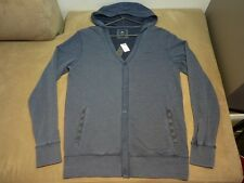 114 MENS QUIKSILVER BLUE MARLE L/S HOODED CARDIGAN SZE MEDM NWT, $90 RRP.