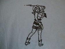 Finger Pistol Cute Sexy Pin Up Girl Light Blue Cotton T Shirt Size S