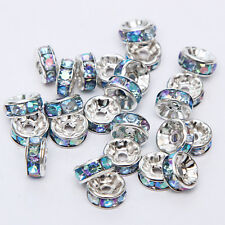 20pcs Plated silver crystal spacer beads Charms Findings 8mm FREE SHIPPING  #23