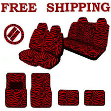 Full Safari Set Red Zebra Print Front Back Seat Covers & Floor Mats