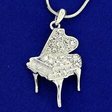 w Swarovski Crystal AB Clear Music Grand Piano Necklace Pendant Chain