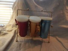 Vintage Emson-Ware Anodized Aluminum Handled Cups with Holder Set of 6