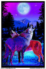 Timberwolves Flocked Blacklight Poster Print - 23x35 Wolves Moon