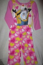 Girl Despicable Me Minions 2 Piece Sleepwear Set Pink/Yellow Hearts Size 2T New