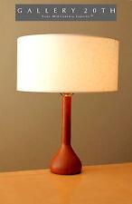 RARE! MID CENTURY DANISH MODERN TABLE DESK LAMP! Solid Teak Vtg 1950s 1960s Wood
