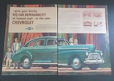 Original Print Ad 1946 CHEVROLET Big-Car Dependability Lowest Cost 2 Page