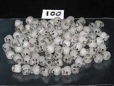 100 Acrylic Skull Pony Beads: NIGHT GLOW ANTIQUE  10mm Length/3.5mm Hole