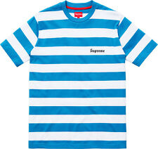 NEW SUPREME SS15 Supreme Old English Striped Top Shirt BLUE Medium +ARAKI ZINE