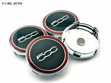60mm × 4pcs 500c Logo Car Aluminum Wheel Center Caps Emblem For FIAT 500 Red