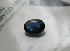 Rare Certified Unheated Oval Cut 1.48ct Transparent Deeper Blue Sapphire.