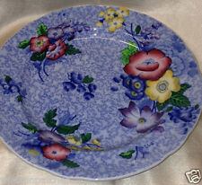 "COPELAND SPODE WILD FLOWER LUNCHEON PLATE 9"" MULTICOLOR FLORAL ON BLUE"