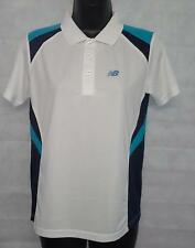 Boys Polo Shirt New Balance Pace Polo Shirt Top Size 12 Years Old White #4295