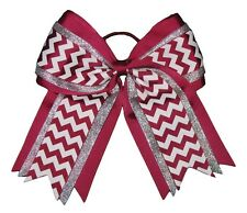 "NEW ""SILVER BURGUNDY CHEVRON"" Cheer Hair Bow Pony Tail 3"" Ribbon Cheerleading"
