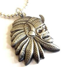 INDIAN CHIEF SKULL Skeleton Biker Harley Motorcycle Pendant Necklace w/ Chain