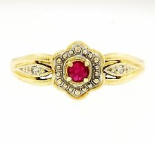 Vintage 9ct Yellow Gold Ruby & Diamond Daisy Cluster Ring (Size O) 8mm Head