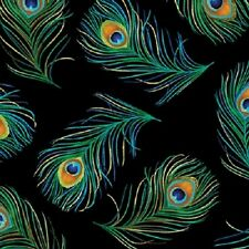 RHAPSODY IN BLUE PEACOCK FEATHERS FABRIC METALLIC