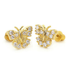 14k Gold Plated Pave Butterfly Children Screw Back Baby Girls Earrings