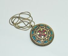 925 TIBETAN SILVER RED CORAL,TURQUOISE NICE PENDANT &BRASS CHAIN NECKLACE D03730