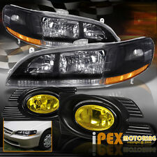 2001-2002 Honda Accord 4Dr Sedan JDM Black Headlights W/ Yellow Fog Lights Kit