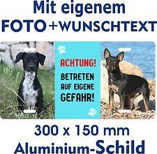 Hunde Schild Metall eigenes Foto Wunschtext Warnschild Fun wetterfest rostfrei