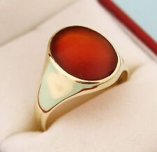925 Sterling Silver Vermiel Natural Gem Stone Carnelian Men's Ring Us Size 8 9