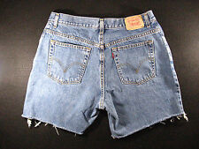 LEVIS Zipper 550 CUTOFF JEAN SHORTS Cut Off 34 Denim Red Tab High Waisted