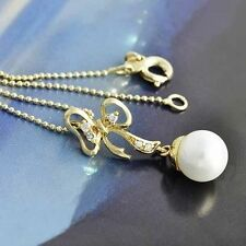 "Pearl Crystal Womens yellow gold filled bow Pendant Bead Chain Long 18"" Necklace"