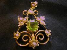 Exquisite Edwardian Quality 15ct Gold Peridot & Pearl Pendant