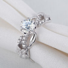 Round White AAA CZ 925 Sterling Silver Flower Engagement Wedding Ring Size 7