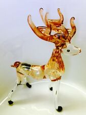 Deer Crystal Blown Glass Tiny Animal Figurine Brown Hand Paint Collectible Gift
