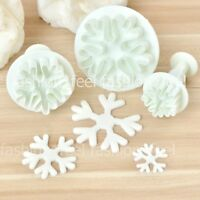 3pcs Snowflake A Shape Sugarcraft Decorating Cookie Plunger Mold Cake Cutter DIY