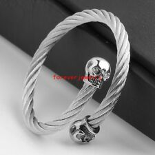 New Stainless Steel Silver Wire Cable Chain Skull Men/Women Bracelet Cuff Bangle