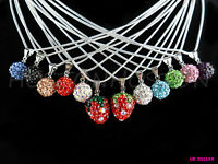 SHAMBALLA NECKLACE CZECH CRYSTAL DISCO CLAY PENDANT BALL/STRAWBERRY NECKLACE