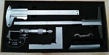 5pc Engineers Measuring Set ~ Caliper, Micrometer, Depth Gauge, Square, Edge
