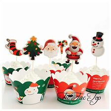 12 Christmas Cupcake Topper + 12 Wrapper. Xmas Party Supplies Santa Snowman Tree