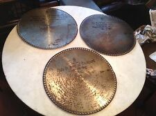 """Lot of 3 Antique Mira 15 1/2"""" Music Box Discs No. 489, 879, 65 """"The Tyrolean"""""""