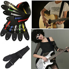 Fashion Trendy Nylon Guitar Strap Electric Acoustic Bass Black Guitar Straps