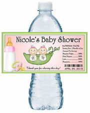 20 TWO PEAS IN A POD TWINS BABY SHOWER WATER BOTTLE LABELS ~ pink ~