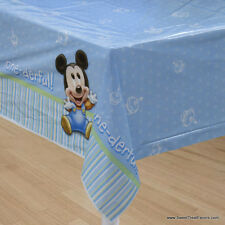 Mickey Mouse Baby TABLECOVER 1st First Birthday Decoration Party BLUE Tablecloth