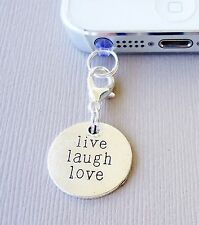 LIVE LAUGH LOVE cell phone Charm Tag Dust proof  Plug ear jack For iPhone C19