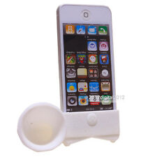 Cute Portable Silicone Horn Stand Amplifier Speaker for Apple iPhone 4S 4G White