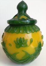 Antique Chinese Green & Yellow Peking Glass Jar and Lid - Lotus, Fish, Ducks +++