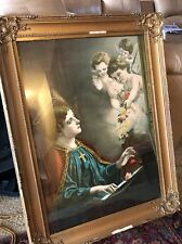 """Victorian framed St. Cecilia Print Picture Patron saint of music 25x 33"""""""